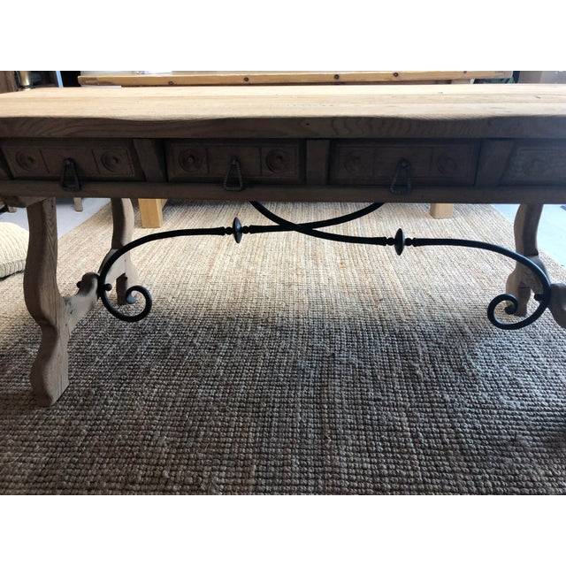 Antique English Oak Farm Table with Iron Stretcher and Drawers For Sale In Nashville - Image 6 of 10