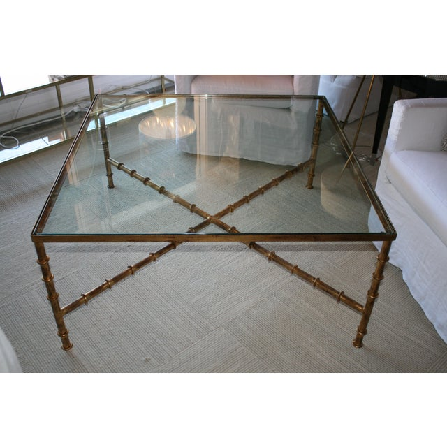 Hollywood Regency Vintage Kravet Faux Bamboo Brass Coffee Table For Sale - Image 3 of 5