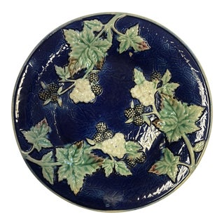 Antique Majolica Blue with Green Leaves Salad Plate For Sale