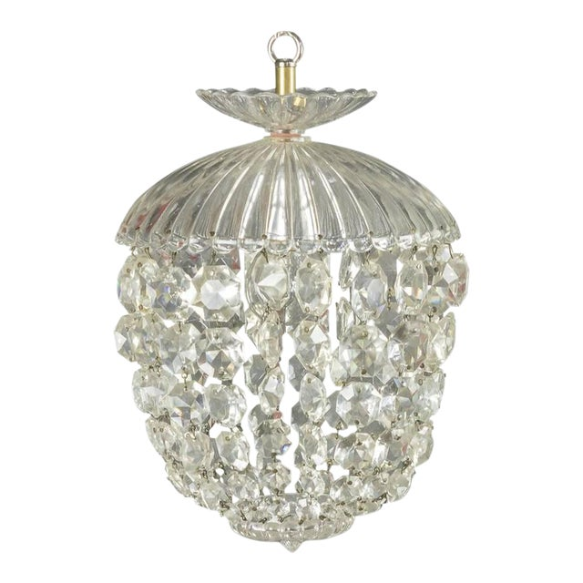 1940s French Crystal and Glass Pendant Ceiling Fixture - Image 1 of 11