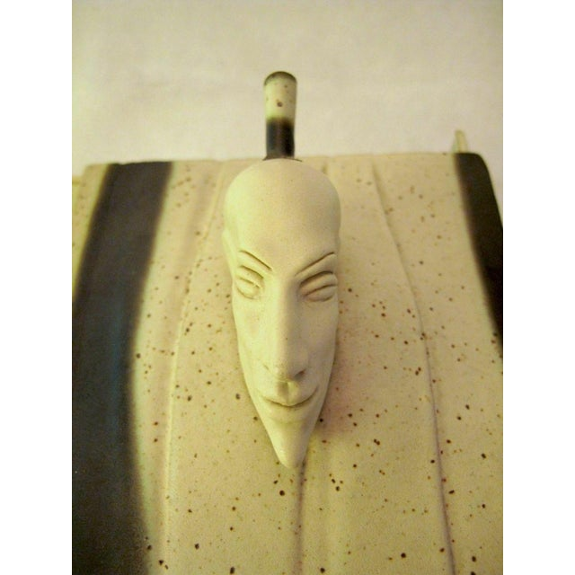 Late 20th Century Kostas Ulevicius Tribal Spiritual Sculptural Face Pottery Box W/Lid For Sale - Image 5 of 10
