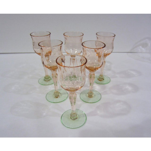Pink & Green Watermelon Glass Cordials - Set of 6 For Sale - Image 4 of 11