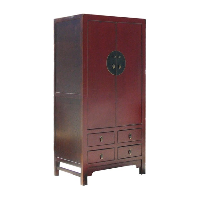 Chinese Red Elm Wood Armoire - Image 2 of 5