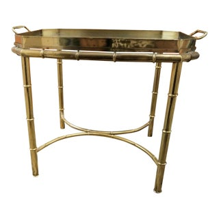 Vintage Brass Master Craft Faux Bamboo Hollywood Regency Side Tray Table For Sale