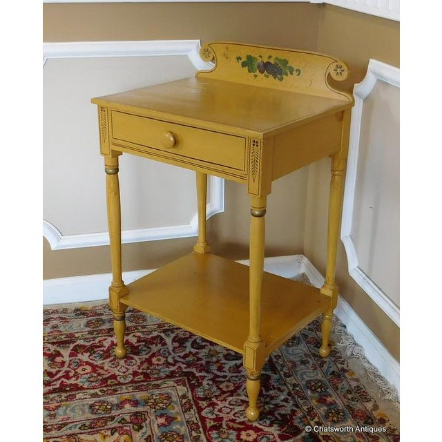 Cottage Sheraton 19 C. Painted Country Washstand Table For Sale - Image 3 of 9