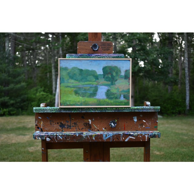 Painted en plein air (from life) on a late spring day in coastal Rhode Island. After a while, the frogs in the pond...