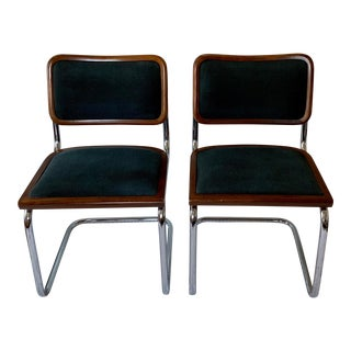 Loewenstein Marcel Breuer Cesca Style Upholstered Dining Chairs - Set of 2 For Sale