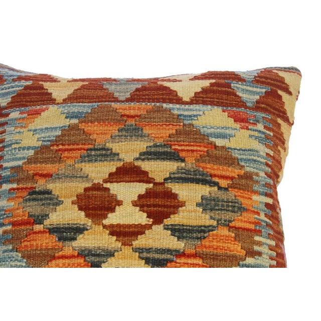 "Cira Rust/Brown Hand-Woven Kilim Throw Pillow(18""x18"") For Sale - Image 4 of 6"