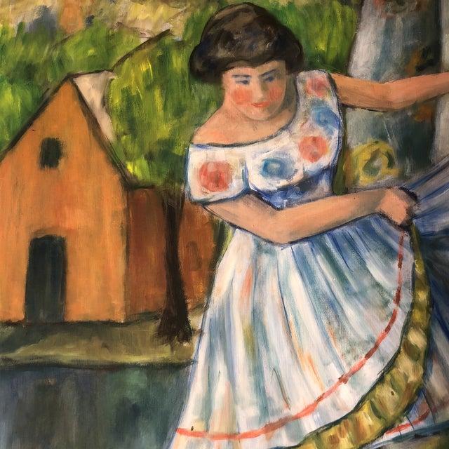 Expressionism Original Mid Century Modernist Painting Dancer Signed For Sale - Image 3 of 6
