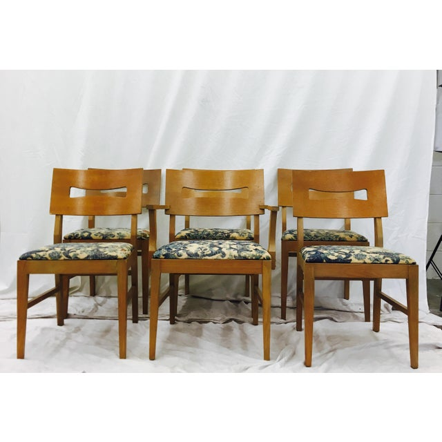 Vintage Mid-Century Modern Square Back Wooden Dining Chairs - Set of 6 For Sale - Image 4 of 9