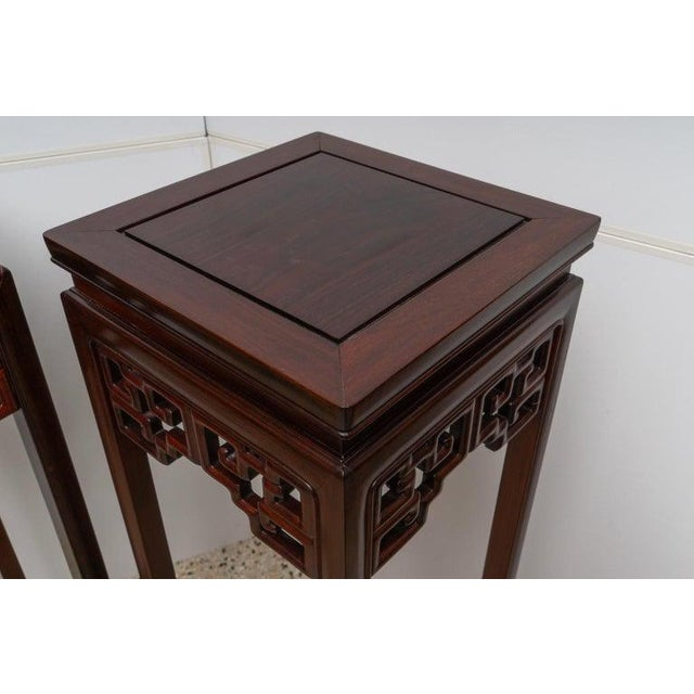 Asian Chinese Rosewood Pedestals For Sale - Image 3 of 13