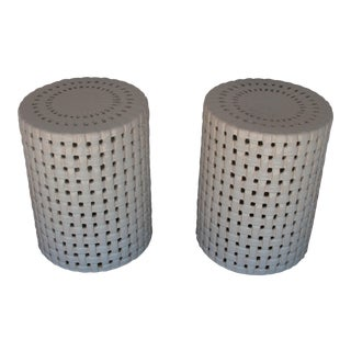 1980s Hollywood Regency Basketweave Ceramic Garden Stools - a Pair