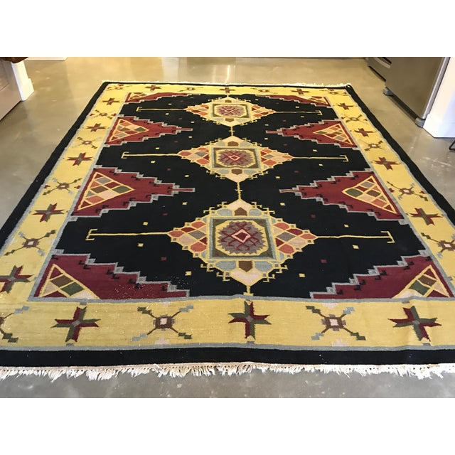 "Vintage Indian Dhurrie Kilim Rug - 8' x 10'2"" - Image 6 of 11"