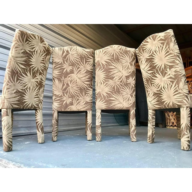 Beautiful nice set of 4 elegant Palm beach Parsons dining chairs! Fantastic chairs with tan palm patterned and a brown-...
