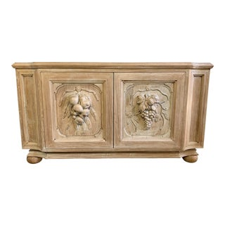 Italian Carved Wood Credenza, Circa 1940s For Sale