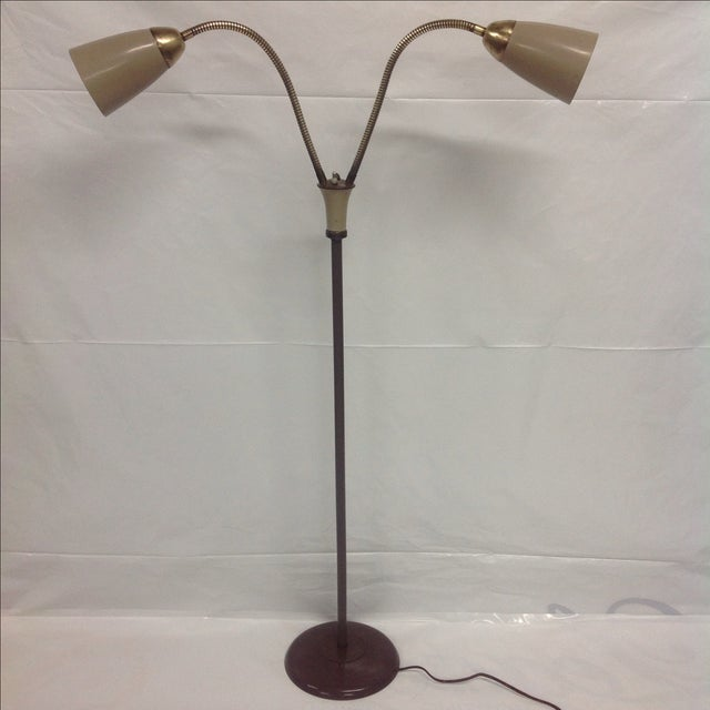 Traditional Mid Century Double Gooseneck Floor Lamp For Sale - Image 3 of 4