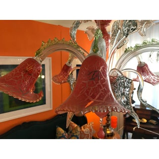 Red Crackle Flower Murano Glass Chandelier, Fused With Gold Leafing Preview