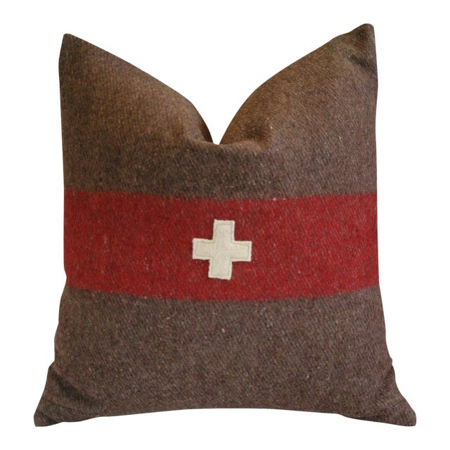 Swiss Wool & Linen Applique Cross Feather/Down Pillow - Image 1 of 4