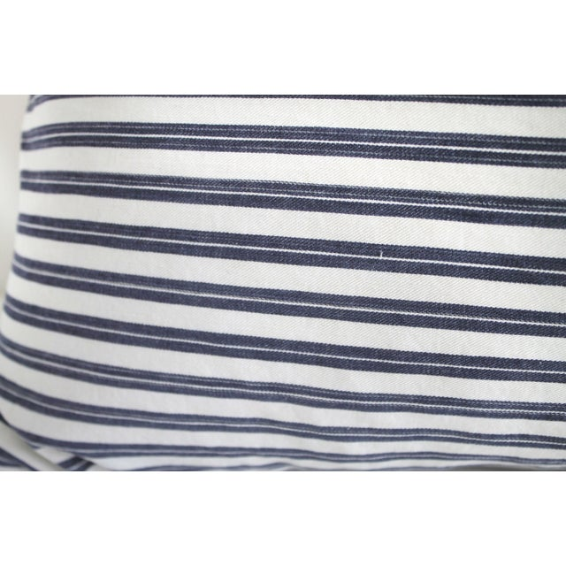 Vintage Navy Blue and White French Ticking Stripe Lumbar Pillow For Sale - Image 4 of 7