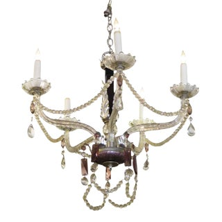 1930s Five Arm Chandelier With Black & Amethyst Crystal For Sale