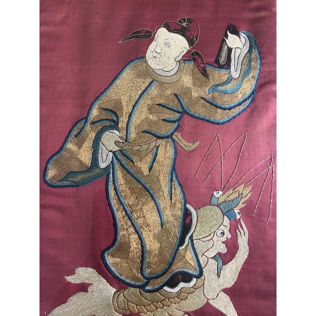 Abstract Antique Chinese Embroidered Mythological Wall Hangings, Panels on Silk - a Pair For Sale - Image 3 of 9