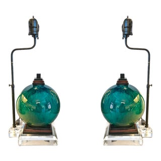 French Flambe Glazed Lamps - A Pair For Sale