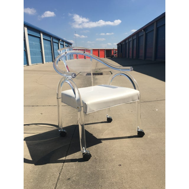 Charles Hollis Jones Lucite Rolling Chair - Image 5 of 5