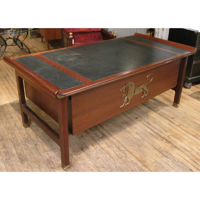Mid-Century Modern Executive Desk in Wenge & Brass by Kofod Larsen For Sale - Image 3 of 12