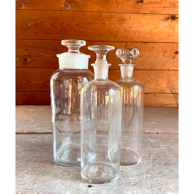 Glass Set of 3 Old Glass Pharmacy Bottles With Stoppers For Sale - Image 7 of 7