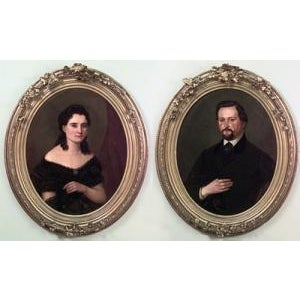 Pair of American Victorian style gilt framed oval oil painting portraits of man with mustache and lady in black lace For Sale - Image 4 of 4