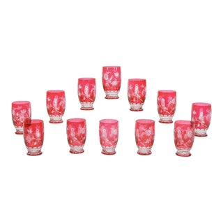 12 Val St. Lambert Hand Blown Crystal Large Tumblers Cut to Clear with Birds For Sale