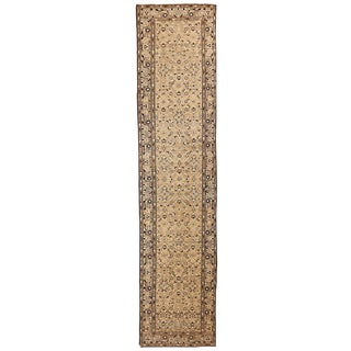 Antique Persian Malayer Runner Rug With Black & White Botanical Details For Sale