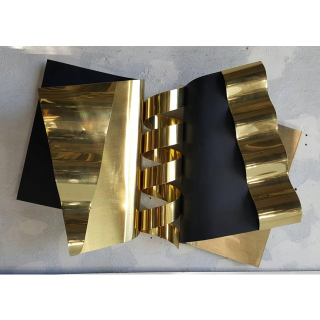 Brass 1970's Modernist Abstract Brass and Enamel Wall Sculpture by C. Jere For Sale - Image 7 of 7