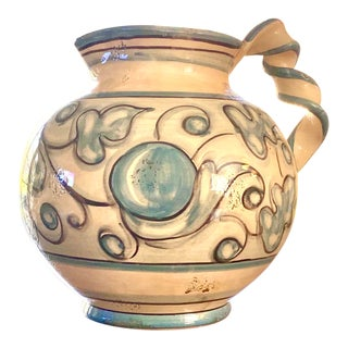 Large Italian Blue and White Twisted Handle Pitcher For Sale