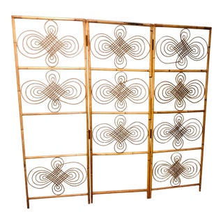 Vintage Boho Scroll Three Panels Folding Rattan Screen Headboard For Sale