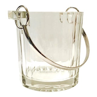 Vintage Italian Crystal Ice Bucket With Nickel Handle, 1970s For Sale