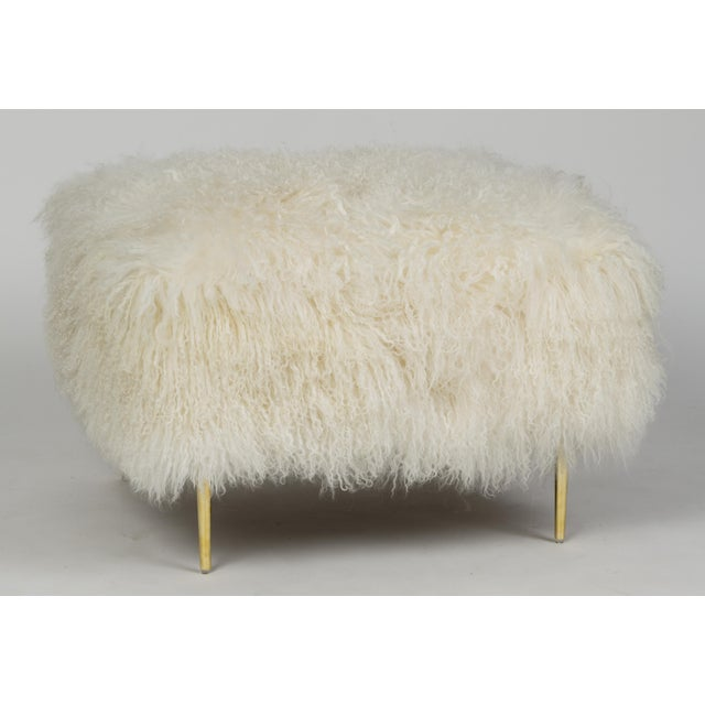 """Curly Mandy 36"""" OttomanWarm White Made of Tibetan Lamb Please allow 4 weeks before the item ships."""
