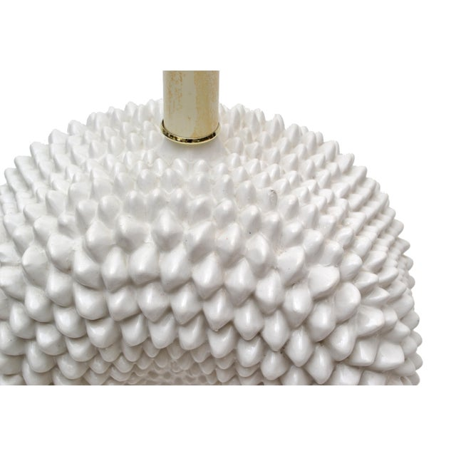 Hollywood Regency White Porcelain Cactus Table Lamp With Brass Base For Sale - Image 4 of 10