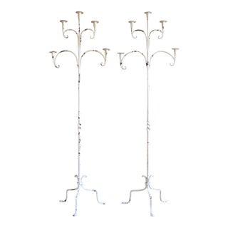 Large Antique Wrought Iron Candelabras - a Pair For Sale