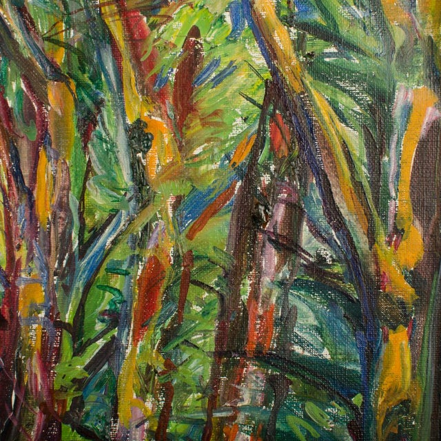 """Mid 20th Century """"Allee"""" Expressionist Style Forest Landscape Oil Painting by Elisabeth Merlicek, Framed For Sale - Image 10 of 13"""
