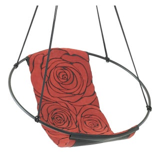 Rose Red on Black Hand Stitched Genuine Leather Sling Chair For Sale