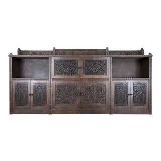 Monumental Handcarved Rosewood Shalimar Sideboard Credenza by Gilani For Sale