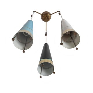 Mid-Century 3 Pendant Chandelier For Sale