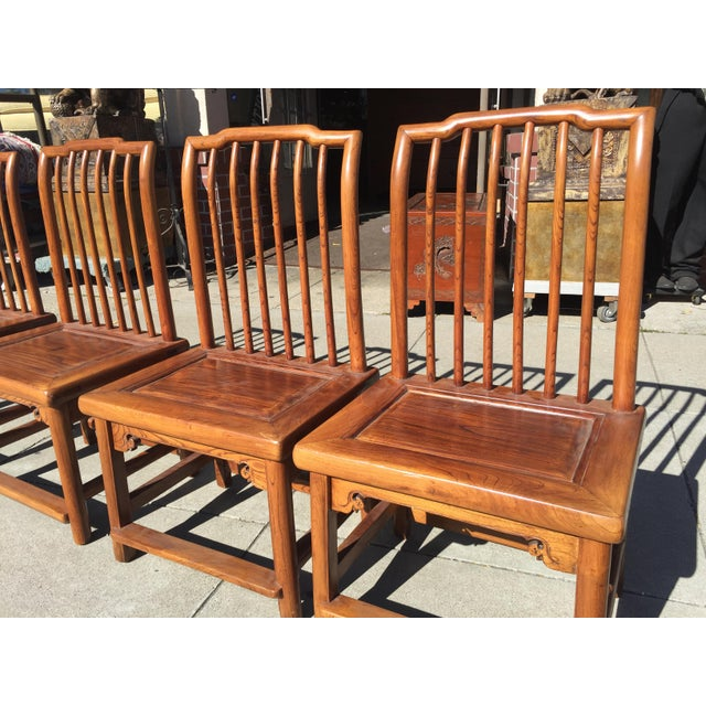 Asian Antique Asian Tea Table Chairs - Set of 4 For Sale - Image 3 of 12