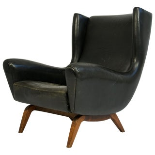 Illum Wikkelsø Leather and Rosewood Lounge Chair For Sale