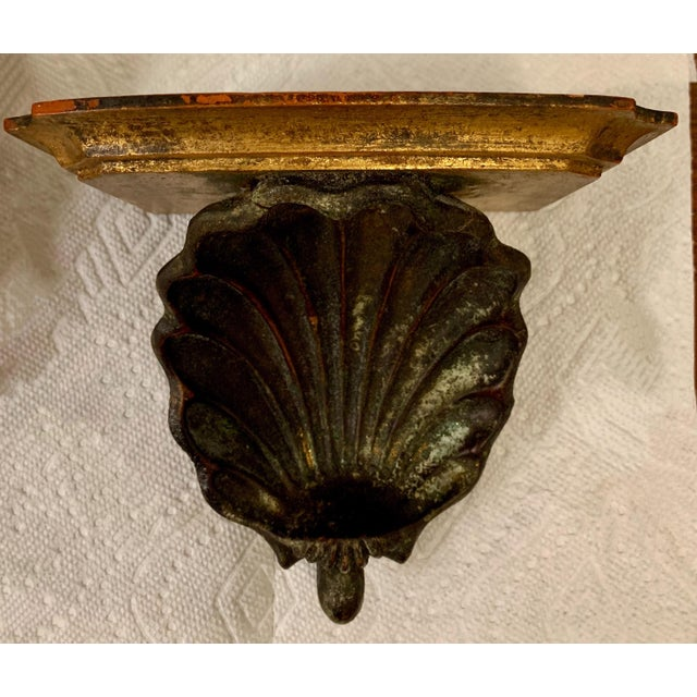 1950s Hollywood Regency Palladio Giltwood Shell Wall Brackets- a Pair For Sale - Image 5 of 7