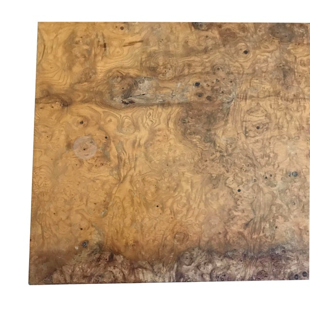 Brown 1970s Mid-Century Modern Burl Wood Square Coffee Table For Sale - Image 8 of 13