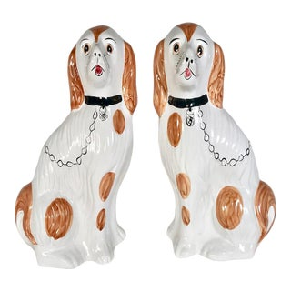 Staffordshire Spaniel Mantel Dog Figurines - a Pair For Sale
