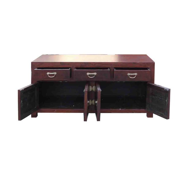 Asian Oriental Elm Burlwood Low TV Stand Cabinet For Sale - Image 3 of 5