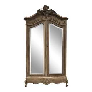 19th Century French Louis XV Mirrored Armoire For Sale